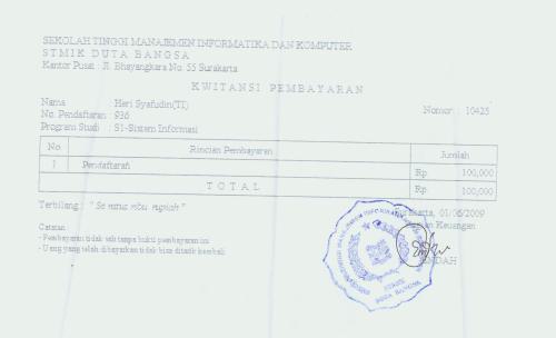 tanda bukti pendaftaran